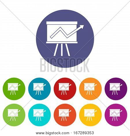 Flip chart with statistics set icons in different colors isolated on white background