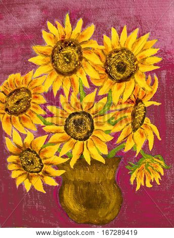 Hand painted illustration oil painting bouquet of sunflowers.