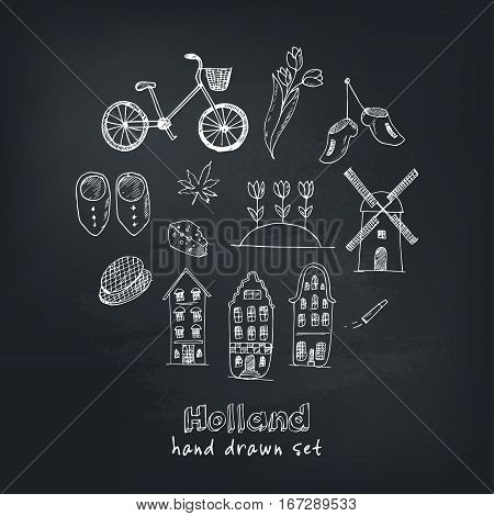 Doodle hand drawn collection of Holland icons. Netherlands culture elements for design. Vector illustration with travel objects