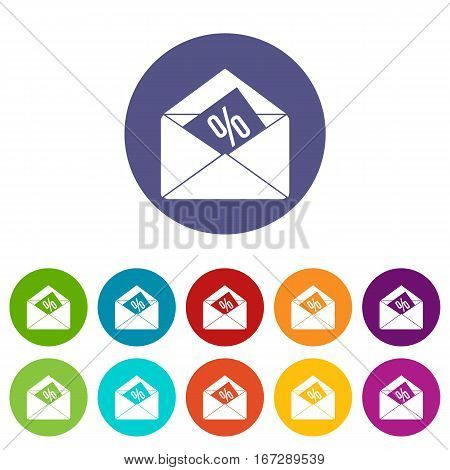 Envelope with percentage set icons in different colors isolated on white background