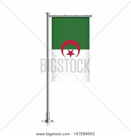 Algeria vector banner flag hanging on a silver metallic pole. Vertical Algeria flag template isolated on a white background.