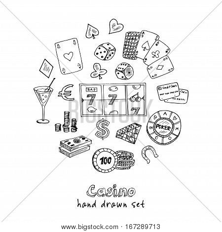 Hand drawn doodle set of Casino icons. Vector illustration set. Cartoon Gambling symbols. Sketchy game elements collection: bet jackpot cards chips coins darts roulette poke, money.