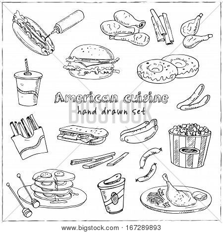 Vector hand drawn set of american cuisine hot dog, hamburger and cheeseburger, sandwich, steak, sausage, ketchup. Vintage illustration for design menus, recipes and packages product.