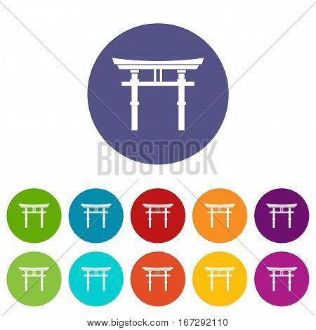 Japanese torii set icons in different colors isolated on white background