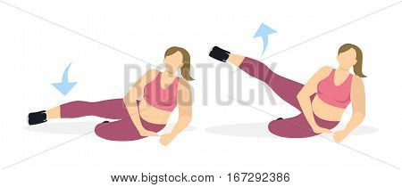 Exercise for legs on white background. Workout for legs. Exercises for fat women. Leg rising.
