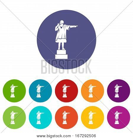 Columbus monument set icons in different colors isolated on white background
