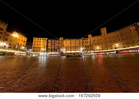 Piazza del Campo by night in the downtown of Siena Toscana (Tuscany) Italy