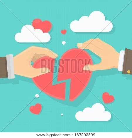 Heart recovery concept. Two male hands hold and connect pieces of heart. Homosexual love.