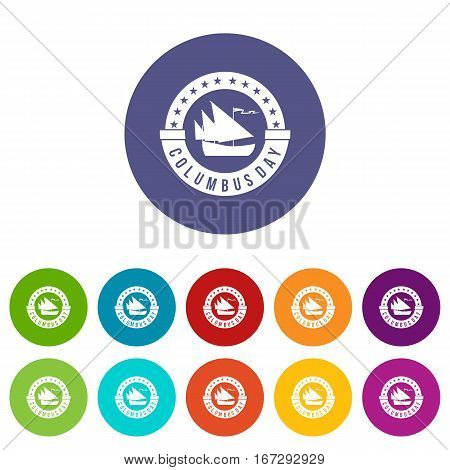 Columbus Day set icons in different colors isolated on white background