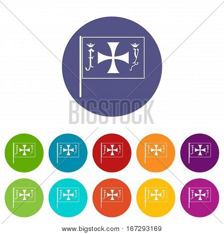 Flag of Columbus set icons in different colors isolated on white background