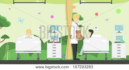 Children ward in hospital. Funny cartoon interior. Male doctor with young patients.