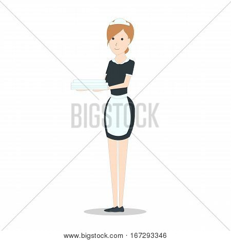 Isolated hotel maid on white background. Hotel service. Woman in the uniform with apron.