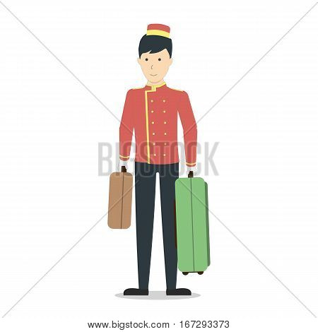 Isolated hotel porter on white background. Man in uniform with luggage.