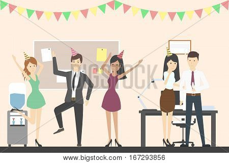 Office party dance. Holiday corporate dinner and disco. All staff in celebrating hats. Office with decoration.