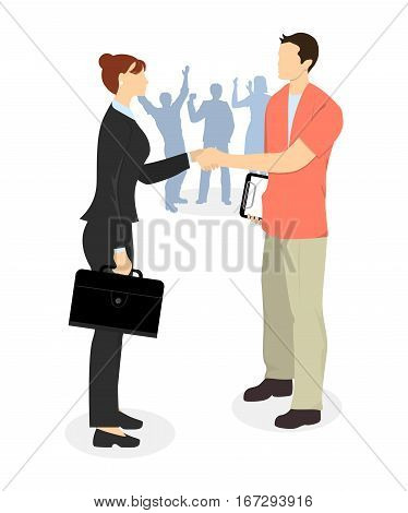 Business agreement handshake. Man and woman shaking hands in agreement. Hiring new employment.