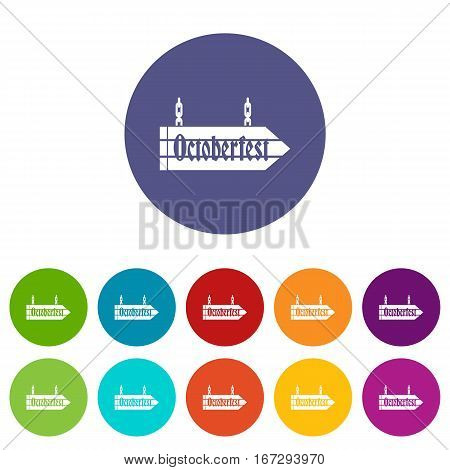 Sign octoberfest set icons in different colors isolated on white background