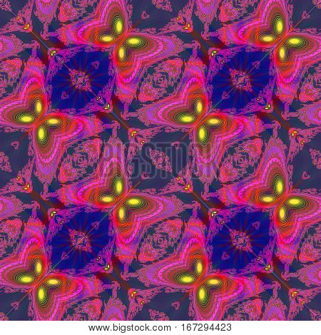 Abstract seamless fractal pattern with stylized butterflies. Pink, yellow and red scalloped fractal pattern on a dark blue background