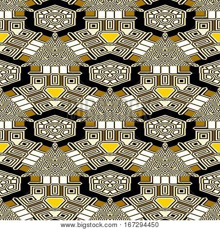 Abstract seamless retro brown, white and yellow pattern of triangles, lines and squares. Geometric seamless pattern resembling stylized houses