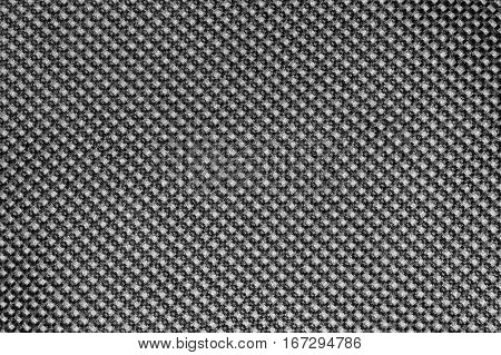 Black and white fishnet cloth material as a texture background. Nylon texture pattern or nylon background for design with copy space for text or image.