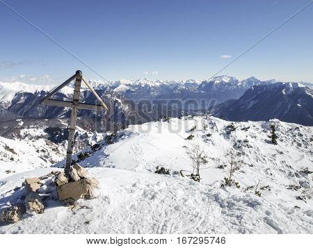 Cima Fojorina Switzerland - February 1 2015: mountain of Lombardy on the border between Italy and Switzerland.