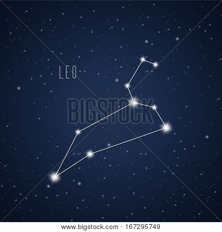Vector illustration of Leo constellation on the background of starry sky