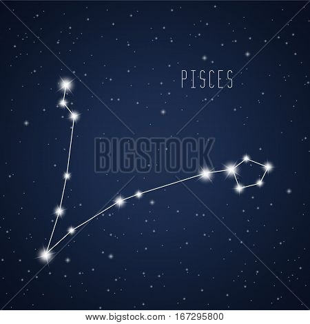 Vector illustration of Pisces constellation on the background of starry sky
