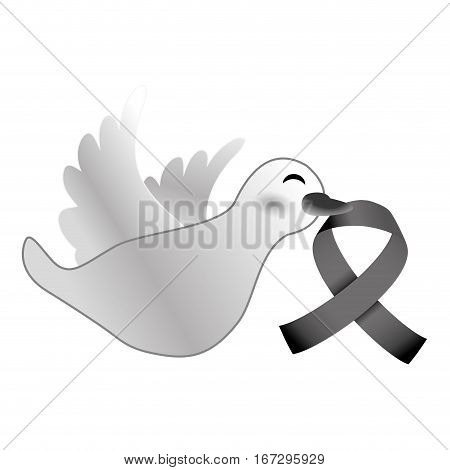 Shape dove with breast cancer symbol in the beak icon design image