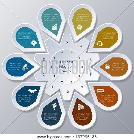 Business Infographic ten Points arranged in circle gear
