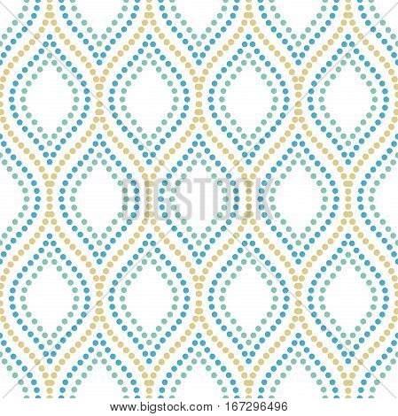 Seamless vector ornament. Modern background. Geometric pattern with repeating colored dotted elements