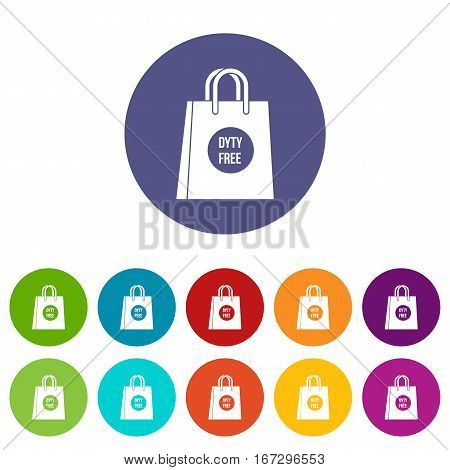 Duty free shopping bag set icons in different colors isolated on white background