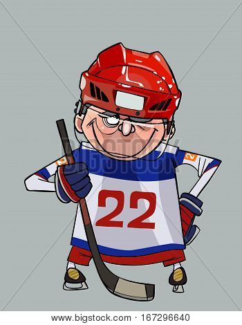 cartoon comic smiling hockey player with a stick stands with arms akimbo