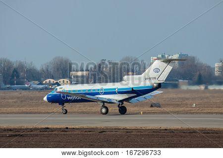 Kiev Ukraine - March 15 2011: Yakovlev Yak-40 regional passenger jet plane takeoff