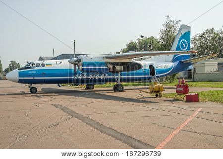Kiev Ukraine - july 7 2012: Antonov An-24RV passenger plane after maintenance at the aircraft repair plant
