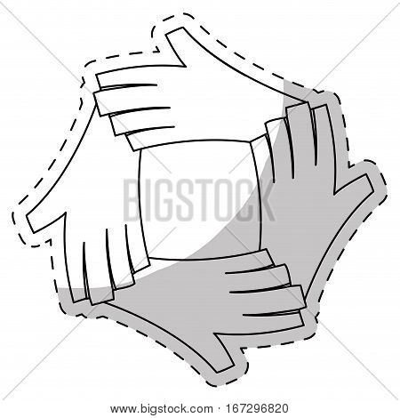 contour hands together feminism related, vector illustration image