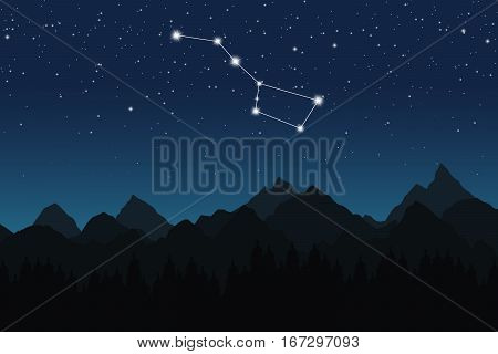 Vector illustration of Ursa Major constellation on the background of starry sky and night mountain landscape
