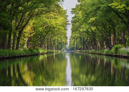 Symmetry view on flow line of menmade canal in Belgium.