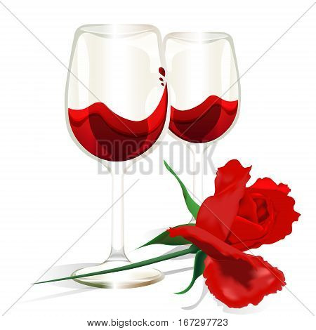 Valentines day card rose red wine date love