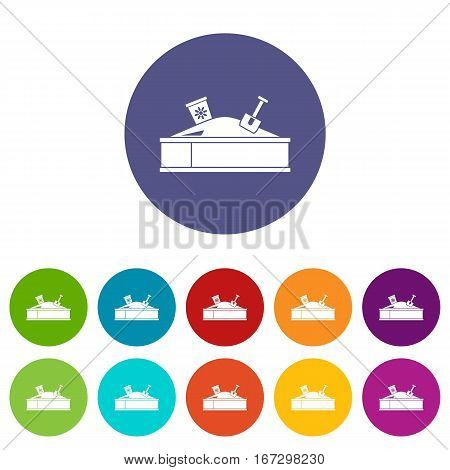 Sandbox with bucket and shovel set icons in different colors isolated on white background