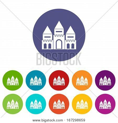 Children house castle set icons in different colors isolated on white background