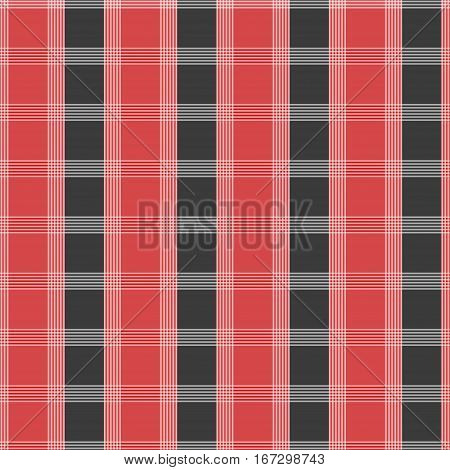 Seamless tartan pattern. Red and grey kilt fabric texture. Abstract vertical and horizontal lines. Vector illustration