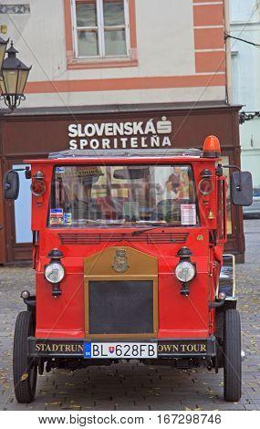 Bratislava, Slovakia - November 4, 2015: retro carriage on the main square in Bratislava, Slovakia