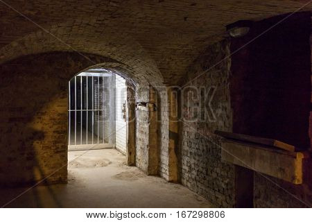 Cellar room with illuminated entrance.  Shot of an entrance to the cellar and has a metal barred gate which is closed. Some of the brickwork is broken.