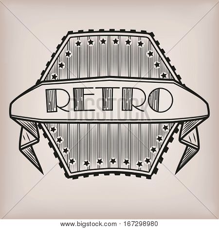 Retro styled vintage old style logo logotype sticker with inscription tape line backgound. Vector close-up beautiful illustration sign signboard icon poster label square front view black and white art