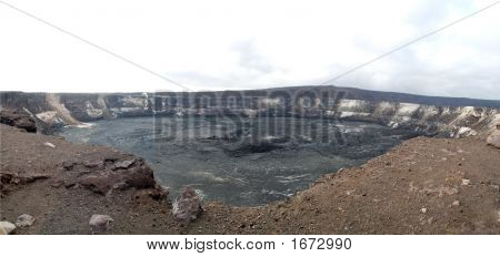 Panorama Of Volcano Crater.