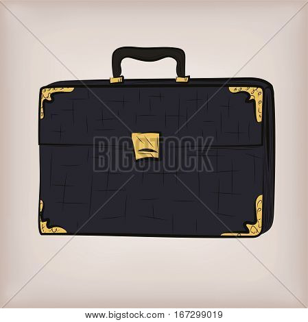 Bag portfolio briefcase brief-case diplomat leather retro design stylish men male business work attache case. Vector closeup square beautiful line art illustration sign front view beige background