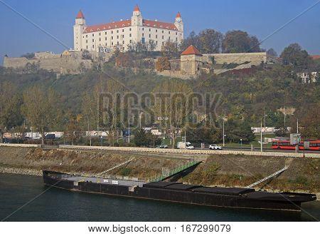 Bratislava, Slovakia - November 5, 2015: View on Bratislava castle and Danube river in capital city of Slovakia, Bratislava