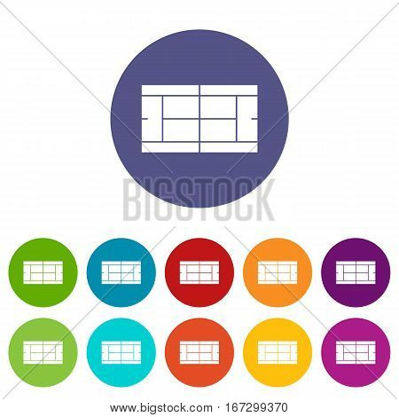 Tennis court set icons in different colors isolated on white background