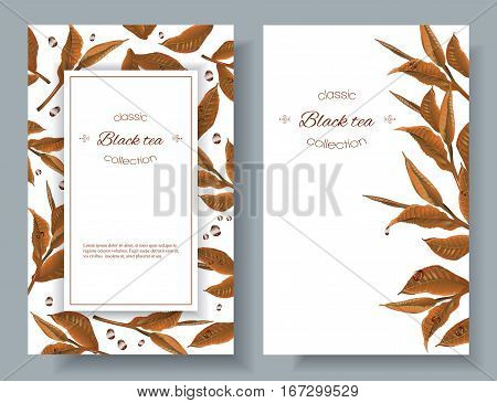 Vector black tea vertical banners with tea leaves and drops on white. Design for packaging, tea shop, drink menu. With place for text