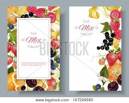 Vector fruit and berry vertical banners on white background. Design for juice, sweets and pastries filled with fruit, dessert menu, health care products. With place for text
