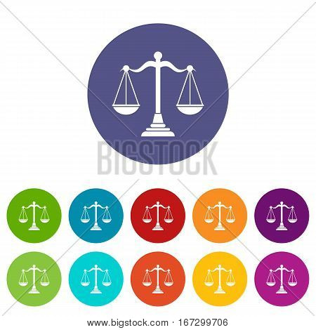 Balance scale set icons in different colors isolated on white background